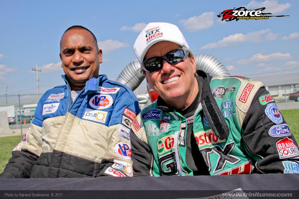 Shekdon with world Top Fuel Champion John FOrce