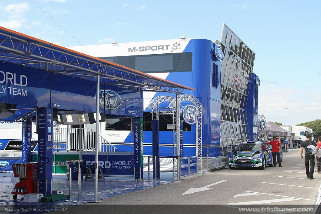 The Ford and Ford M-Sport Pavillion at the Service Park in Salou for the WRC Spain 2012 event.